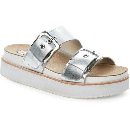 Steve Madden Silver Pate Platform Footbed Sandals ($50)