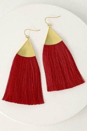 Cute Red Earrings - Tassel Earrings - Boho Earrings