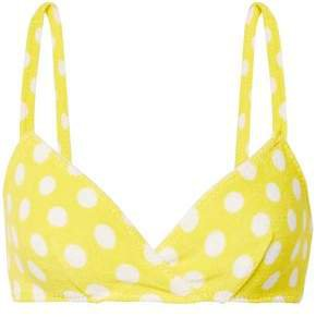 The Yasmin Polka-dot Stretch-cotton Terry Bikini Top