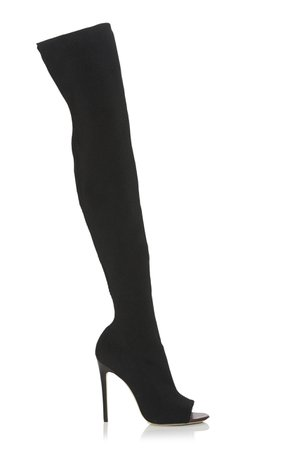 Victoria Beckham Jasmine Stretch-Knit Thigh Boots Size: 37