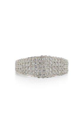 18K White Gold, Diamond, and Sapphire Ring by Ralph Masri | Moda Operandi
