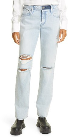 Remi Nonstretch High Waist Ripped Straight Leg Jeans