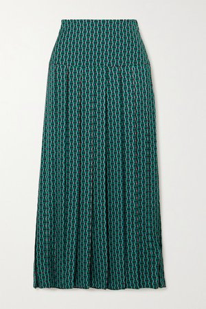 Sienna Pleated Printed Crepe De Chine Midi Skirt - Green
