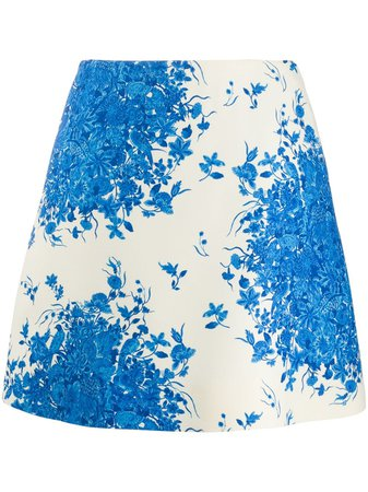 Shop Valentino floral-print A-line skirt with Express Delivery - FARFETCH