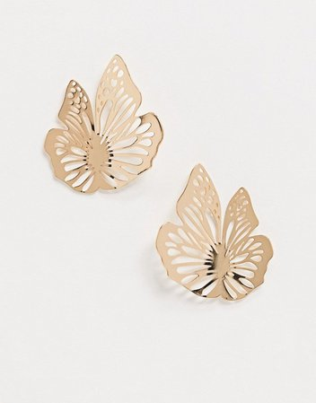 ASOS DESIGN earrings in cut out butterfly design in gold tone | ASOS