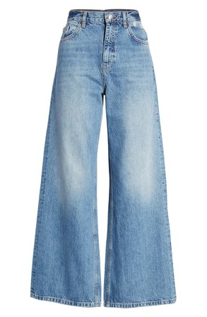 Topshop Slim Wide Leg Jeans blue