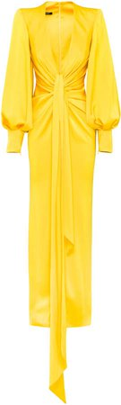 Alex Perry Dane Drape-Detailed Satin Crepe Gown