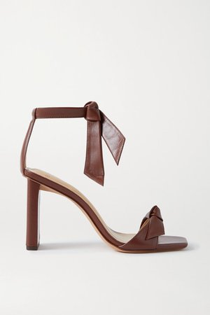 Clarita Bow-embellished Leather Sandals - Burgundy