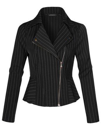 Lighweight Long Sleeve Asymmetrical Striped Blazer Jacket | LE3NO black
