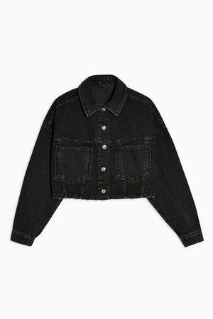 Washed Black Cropped Denim Jacket | Topshop