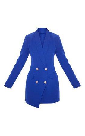 Navy Gold Button Blazer Dress | Dresses | PrettyLittleThing