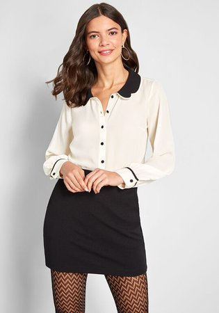 ModCloth Your True Collars Long Sleeve Blouse White/Black | ModCloth