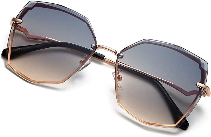 Amazon.com: S.NOTIO Polygon Sunglasses for Women Fashion Designer Style Gradient octagon UV400 Geometric Lens Metal Frame Oversized (Green Gradient Brown): Clothing