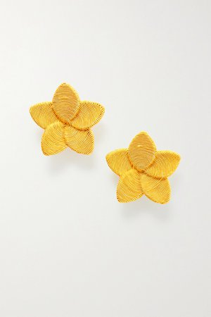 Yellow Frangipani gold-plated cord clip earrings | Rebecca de Ravenel | NET-A-PORTER