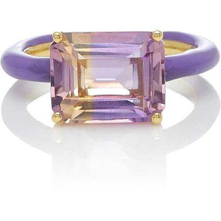 Amethyst Emerald Cut Stone Ring   Moda Operandi