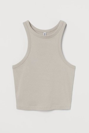 Ribbed Tank Top - Brown