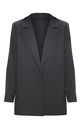 Black Super Oversized Woven Blazer   PrettyLittleThing