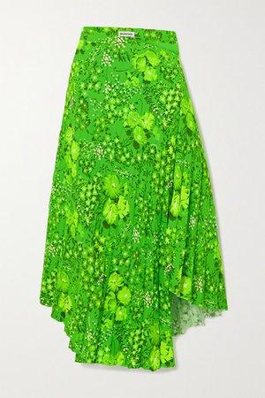 Asymmetric Pleated Floral-print Crepe Midi Skirt - Green
