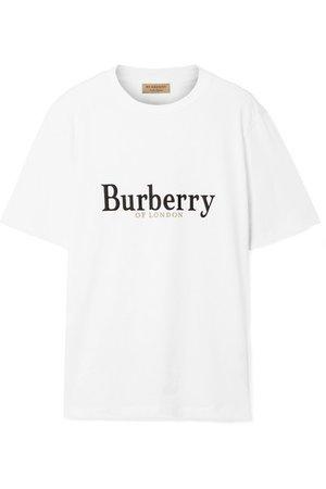 Burberry | Embroidered cotton-jersey T-shirt | NET-A-PORTER.COM