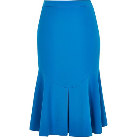 Blue fitted peplum frill midi skirt | River Island