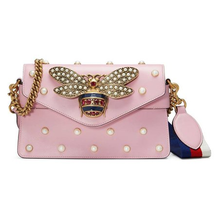 Queen margaret leather crossbody bag Gucci Pink in Leather - 5526336