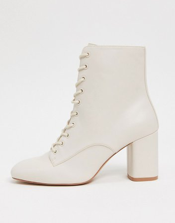 Stradivarius lace up ankle boots in white   ASOS