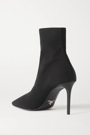 Black Stretch-knit sock boots   Prada   NET-A-PORTER