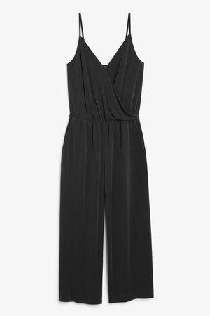 Super-soft wrap jumpsuit - Black magic - Jumpsuits - Monki WW