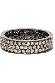 OFIRA | Rhombus 18-karat blackened white gold diamond hoop earrings | NET-A-PORTER.COM