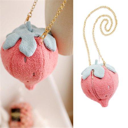 Kawaii Fluffy Strawberry Crossbody Bag on Storenvy