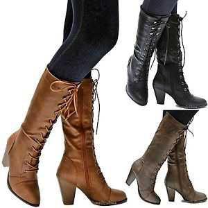 combat lace up calf high boots