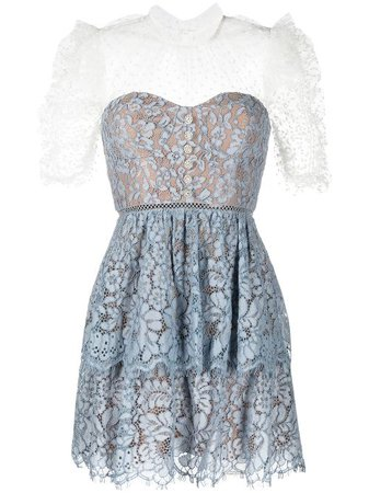 Self-Portrait Tiered Lace Dress - Farfetch