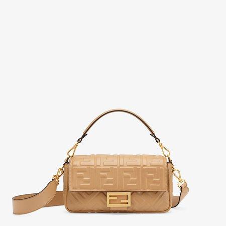 Beige nappa leather FF Signature bag - BAGUETTE   Fendi