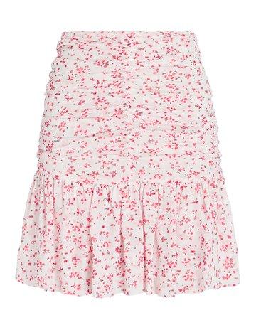 GANNI Ruched Floral Georgette Mini Skirt   INTERMIX®