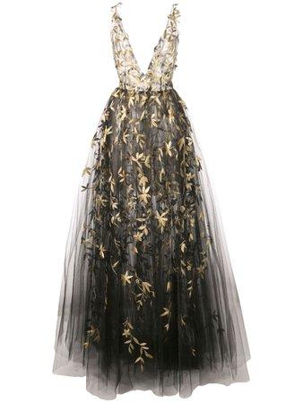 Oscar De La Renta Floral Embroidered Sleeveless Gown - Farfetch