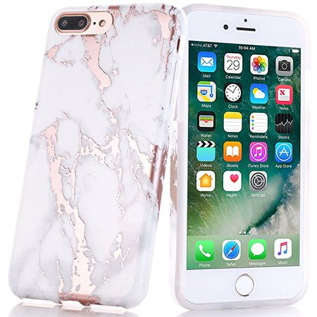 Amazon.com: BAISRKE Shiny Rose Gold Marble Design Clear Bumper Matte TPU Soft Rubber Silicone Cover Phone Case Compatible with iPhone 7 Plus iPhone 8 Plus White: Cell Phones & Accessories