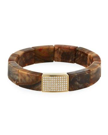 Sydney Evan 14k Diamond Pave Wood Bead Stretch Bracelet