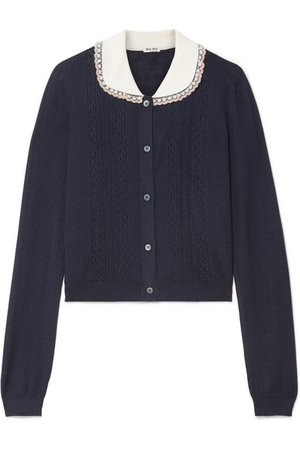 Miu Miu | Embellished tulle-trimmed cashmere and silk-blend cardigan | NET-A-PORTER.COM