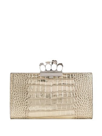 Alexander Mcqueen Skull Four-Ring Metallic Clutch Aw20 | Farfetch.Com
