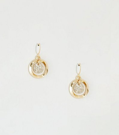 Gold Mini Pave Drop Earrings | New Look