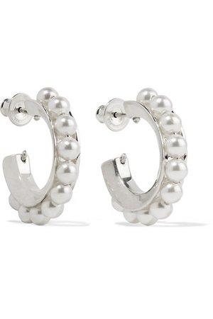 Sophie Buhai | Silver pearl hoop earrings | NET-A-PORTER.COM