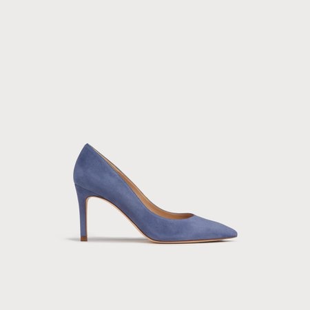 Floret Blue Suede Pointed Toe Courts | Shoes | L.K.Bennett