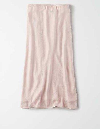 AE High-Waisted Silky Midi Skirt pink