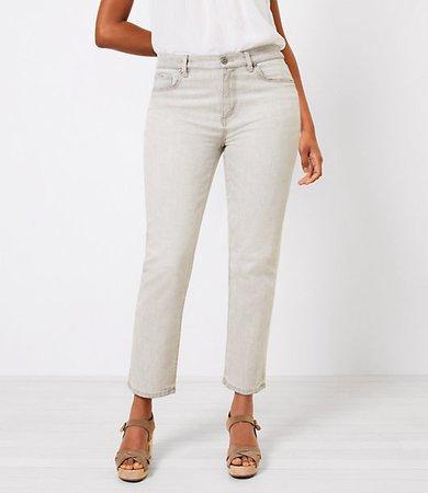 The Curvy High Waist Straight Crop Jean in Light Grey Wash