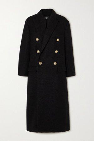 Double-breasted Metallic Wool-blend Tweed Coat - Black
