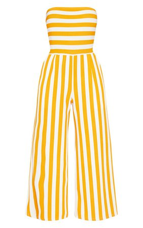 Mustard Contrast Stripe Bandeau Culotte Jumpsuit | PrettyLittleThing USA