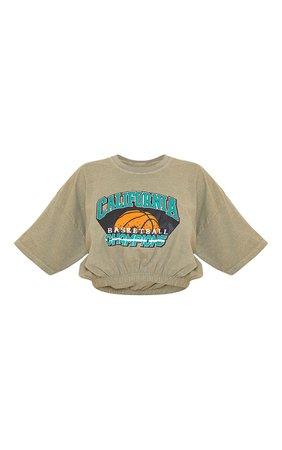 Green Washed Cali Basketball Slogan Elastic T Shirt | PrettyLittleThing USA