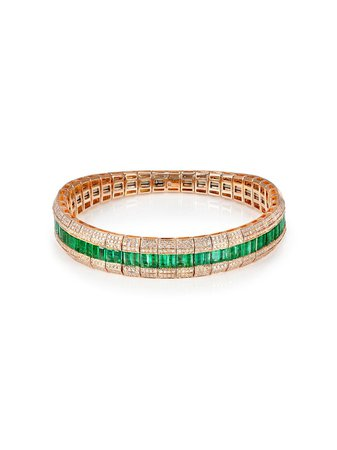 SHAY 18kt rose gold, emerald and diamond stretch bracelet - FARFETCH