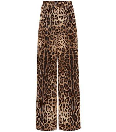 Leopard print crêpe pants