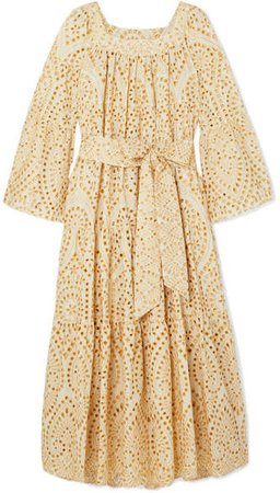 Belted Broderie Anglaise Cotton Maxi Dress - Cream